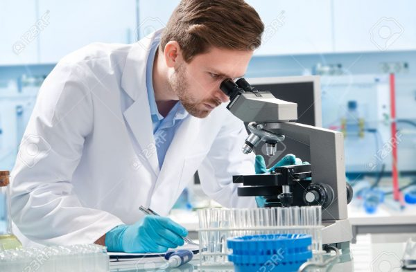 37536866 scientist looking through a microscope in a laboratory